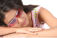 Young girl with big sunglasses. Royalty Free Stock Image