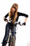 Young girl with bike. Stock Images
