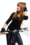 Young girl with bike. Royalty Free Stock Photography