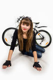 Young girl with bike. Stock Image