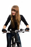 Young girl with bike. Royalty Free Stock Photo