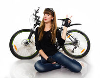 Young girl with bike. Stock Photo