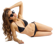 Young girl in bikini isolated. On white Royalty Free Stock Photo