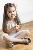 Young girl and bird like friends full of love Royalty Free Stock Images