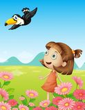 Young girl and bird stock illustration