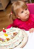 Young girl with birthday cake Stock Images