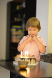 Young girl with birthday cake Royalty Free Stock Photography