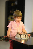Young girl with birthday cake Stock Photography