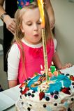 Young girl with birthday cake Royalty Free Stock Photo