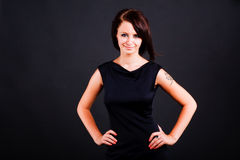 Young girl in black dress Royalty Free Stock Photography
