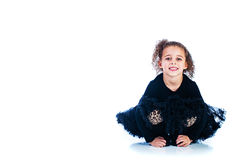 Young girl in a black dress Royalty Free Stock Photo