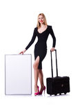 Young girl in black dress with poster and valise Royalty Free Stock Photo