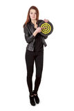 Young girl in black leather jacket holding old target isolated o Royalty Free Stock Photo