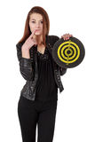 Young girl in black leather jacket holding old target isolated o Stock Image