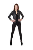 Young girl in black leather jacket isolated over white Royalty Free Stock Photo