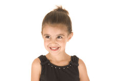 Young girl in black leotard smiling looking away f Stock Photography