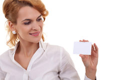 Young girl with a blank card Royalty Free Stock Photo