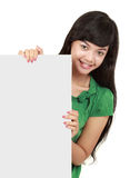 Young girl with blank card Royalty Free Stock Photo