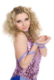 Young girl with blond curly hair Stock Photo
