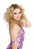 Young girl with blond curly hair Stock Image