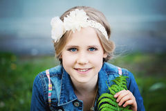 Young Girl with Blonde Hairstyle Stock Photo