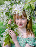 Young girl with the blossoming bird cherry branches Stock Image