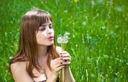Young girl blowing on dandelion Royalty Free Stock Images