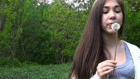 Young Girl Blowing on a Dandelion. Video footage HD. Static camera. Young girl blowing on a dandelion outdoor stock video