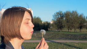 Young girl blows off the dandelion - slowmo 180 fps stock video