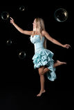 Young girl in blue ball dress. Stock Photo
