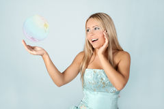 Young girl in blue ball dress. Stock Images
