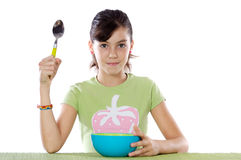 Young girl with  blue bowl Stock Photo