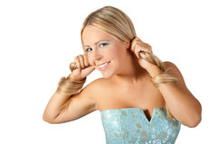 Young girl in blue dress. Stock Photos