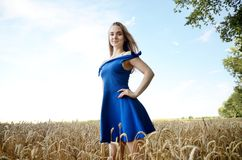 Young woman wearing blue dress in field Stock Photos