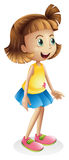 A young girl with a blue skirt. Illustration of a young girl with a blue skirt on a white background Royalty Free Stock Photography
