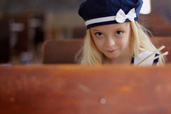 Young girl with bonnet Royalty Free Stock Images