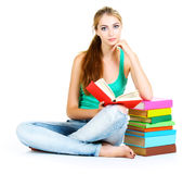 young girl and book Stock Image