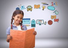Young girl with book and education graphic drawings Stock Photo