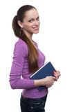 Young girl with book isolated Stock Photo