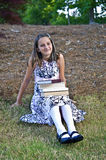 Young Girl with Books Royalty Free Stock Photography