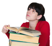 The young girl with books. Isolated Royalty Free Stock Images