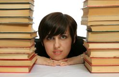 The young girl with books Stock Images