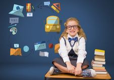 Young girl with books and education graphic drawings Stock Image