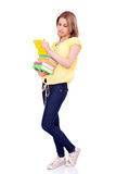 Young girl with books in hands Royalty Free Stock Image