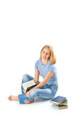 Young girl with books isolated on white  Stock Photos