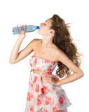 Young girl with bottle of water Royalty Free Stock Photos