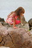 Young Girl on Boulder Stock Photos