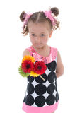 Young girl with a bouquet of flowers Stock Photo