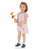 Young girl with a bouquet of flowers Royalty Free Stock Photography
