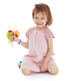 Young girl with a bouquet of flowers Stock Photography